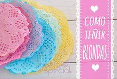 COMO_TEÑIR_BLONDAS. Paper Doily Crafts, Doilies Crafts, Paper Doilies, Diy Paper, Flower Tutorial, Diy Tutorial, Diy And Crafts, Arts And Crafts, Party Decoration