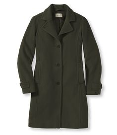 3/4 Length Lambswool Polo Coat from LLBean in Loden, Black or Vintage Red