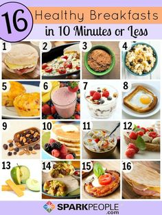 Quick and Healthy Breakfast Ideas. No more boring breakfasts! Plan on one of these healthy recipes for your next morning meal.  | SparkPeople