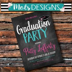 Any Color GRADUATION PARTY CHALKBOARD Red Black Blue Grey Green High School College Surprise Birthday Baby Bridal Shower Party Invitation