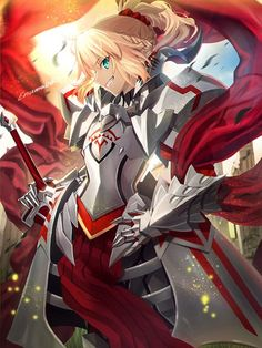 Mordred, blond, turquoise eyes, battle maiden, plate armor, sword, red cloth warrior.