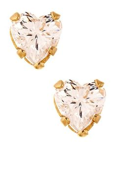 14K Yellow Gold Clear Heart CZ Stud Earrings - Valentine's Day
