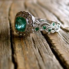 Exquisite Cushion Cut Emerald Engagement by AdziasJewelryAtelier, $3,225.00
