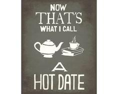 Heißes Date 11 x 14 Kunstdruck Tee und Bücher Hand nummerierte Illustration, Liebe Lesung Poster, Cat Lady Decor Geek Love, Nerdy Artwork ich liebe Bücher