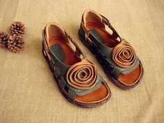 Hueco sandalias zapatos de cuero zapatos con cuero por HerHis