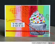 Card by Anneke De Clerck using Darkroom Door Cupcake Eclectic Stamp Birthday Words, Simple Sayings, Leaf Stencil, Distress Markers, Large Stencils, Birthday Sentiments, Flower Stamp, Ink Pads, Art Journal Pages