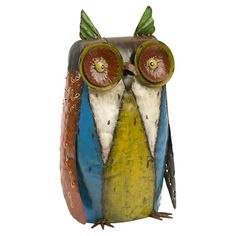 Handcrafted iron owl sculpture.Product: Owl statuetteConstruction Material: IronColor: Multi...