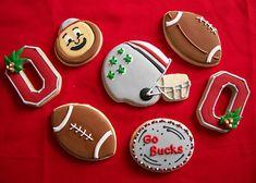 OSU football cookies for game day! Buckeye Dessert, Buckeye Cookies, Football Cookies, Ohio State Buckeyes, Ohio State University, Ohio State Cake, Ohio State Wedding, Buckeye Crafts, Ohio State Football