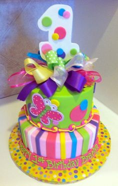babys first birthday butterflies | Found on themecakesbytraci.com