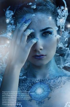 Beautiful Ice Queen inspired fantasy make-up look accented with crystals.