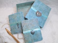 Wedding Vow Book Set - Teal Blue- Green with Lace- Shabby Chic- with Matching Keepsake Box