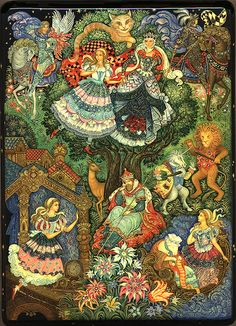 Alice through the looking glass Alice In Wonderland Drawings, Lacquer Paint, Fairy Tales For Kids, Adventures In Wonderland, Russian Folk Art, Russian Painting, Beautiful Paintings, Fairytale Art, Children's Picture Books