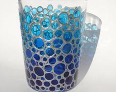 Blue Water Glass Bubbles sun catcher tumbler Hand painted Drinking Glasse Bubbles Design Glassware