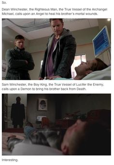 Even more interesting: Sam, True Vessel of Lucifer, was possessed by an angel. Dean, True Vessel of Michael, is now a demon.