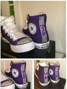 Womens purple plum eggplant high top Swarovski crystals bling rhinestone CONVERSE chucks all star sneakers tennis shoes Christmas gift by CrystalCleatss on Etsy