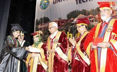 Chancellor Prof Chancellor and Dr Panagariya awarding degrees and certificates of merit at the SKUAST-J Convocation on Monday.  -Excelsior/Rakesh