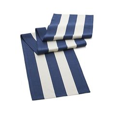 Broad bands of navy and ivory stretch horizontally across modern, sophisticated hand-dyed cotton table runner.