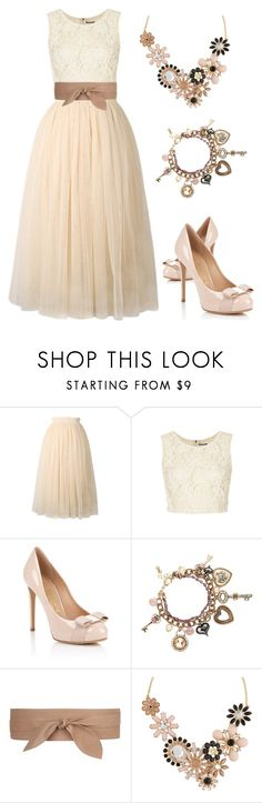 """Formal Gal"" by faithann210 ❤ liked on Polyvore featuring Topshop, Star by Julien Macdonald, MANGO, ALDO, formal, neutrals and Modest"