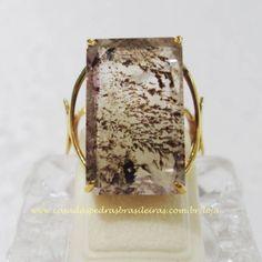 Anel - Dendrita - Ouro - Aro 20 - ID:2514. Anel de Ouro 18 quilates, trabalhado artesanalmente com Gema Natural de Dendrita na Lapidação Retangular. Disponível no Site!