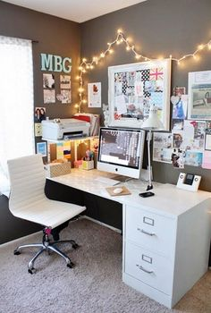 New bedroom design ideas dream rooms small spaces ideas Teenage Girl Bedroom Designs, Teenage Girl Bedrooms, Room Decor Teenage Girl, Desk Ideas For Teen Girls, Room Decor Diy For Teens, Teen Girl Desk, Home Office Design, Home Office Decor, Office Designs