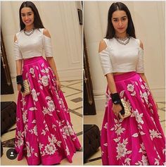 Z Fashion Shraddha Kapoor Designer Pink White Party Wear Crop Top Lehenga Western Dresses, Indian Dresses, Indian Outfits, Eid Dresses, Formal Dresses, Mode Bollywood, Bollywood Fashion, Bollywood Party, Bollywood Style