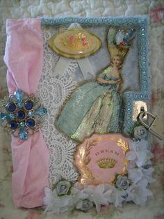blue,altered art,shabby,french,cottage,victorian,marie antoinette,diary,journal, 1 by stephanies cottage!, via Flickr