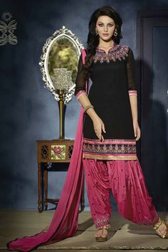 0b347f0a8e Shop Om Silk Mills New Exclusive Designer Black Patiala Georgette Dress by  Om Silk Mills online. Largest collection of Latest Salwar Suits online.