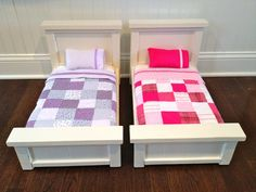 doll beds ana whites pattern altered for American girl dolls gives tutorial fo American Girl Furniture, American Girl Doll Bed, American Girl Crafts, American Girl Clothes, Girl Doll Clothes, Girl Dolls, American Girls, Ag Dolls, Girls Dollhouse