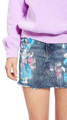 Women's Topshop Moto Splatter Paint Denim Miniskirt