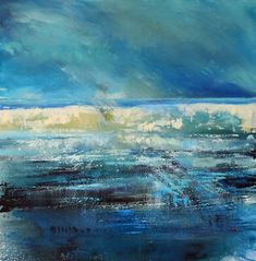 large oil painting of a Cornish seascape painted in layers with a semi abstract feel as the light travels across the canvas. Dark Paintings, Seascape Paintings, Large Canvas, Oil On Canvas, North Cornwall, Travel Light, Quotation, Overlays, Blues