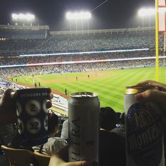 THINK BLUE: It's okay to be a Dodgers fan since they are from Brooklyn right?  @linneagoelz and I managed to watch about 30 seconds of the game.  #loge #losangelesdodgers by stephaniaraquel