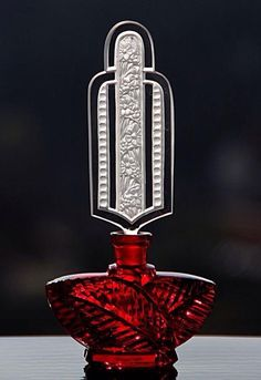Bottle Perfume Red Glass ' Flower Fountain ' by Pesnicak -  1920