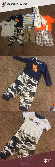 Super cute set of 3 6mo baby boy outfits! Three piece set of monkey 🐒 onesie, pants and jacket, two piece set of shorts and t-shirt and three piece set of blue camo onesie, shirt and pants! Super cute for a little 3-6 month guy! Carter's Matching Sets