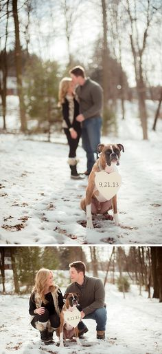 Meaghan Elliot Photography....I love this idea!! Get the pet you love as a couple to announce the date!:)