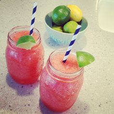 Fresh Strawberry & Lime Margaritas, yum! Just a handful of frozen strawberries, 1 oz. #Sauza tequila, fresh lime juice, ice and agave syrup. Blend and enjoy!