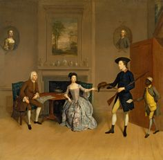 Portrait of John Orde, His Wife Anne, and His Eldest Son William, 1754 by Arthur Devis (English artist, Google Art Project, 18th Century Fashion, 19th Century, English Artists, Art Google, Family Portraits, New Art, Archery, Bowling