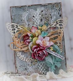 Shabby Chic vintage rose and butterfly handmade card.