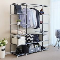 Shop Black Friday Deals on Portable Clothes Rack Closet Wardrobe with Cover and Hanging Rod - Overstock - 32266755 Portable Wardrobe Closet, Diy Wardrobe, Wardrobe Storage, Closet Essentials, Wardrobe Design, Small Closet Storage, Armoire Wardrobe, Black Wardrobe, Small Wardrobe