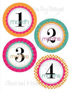 Monthly onesie stickers- Girls magenta, orange and teal circles- GRL259 baby girl monthly onesie sticker decals- perfect baby shower gift