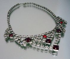 Rhinestone Necklace Clear Red Vintage Jewelry by ThePeacockFeather, $39.99