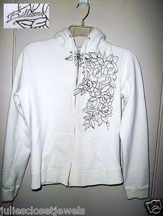 RARE! Billabong Full Zip-Up Fleece Lined Hoodie Embroidered L Juniors S Women's Ivory