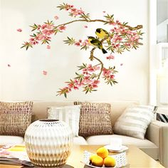 1pc Removable Flower Tree Birds Wall Sticker PVC Vinyl Art Decals DIY Home Decor