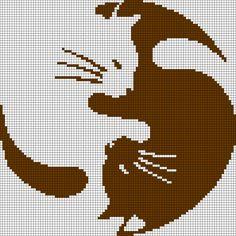 Alpha Friendship Bracelet Pattern added by Chat, yin, yang, rond. Cat Cross Stitches, Cross Stitch Charts, Cross Stitching, Cross Stitch Embroidery, Cross Stitch Patterns, Knitting Charts, Knitting Stitches, Knitting Patterns, Crochet Patterns