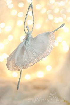 Crepe paper ballerina ornametn tutorial
