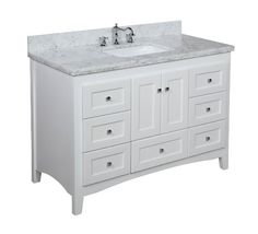 Abbey 48-inch Bathroom Vanity (Carrera/White): Includes Soft Close Drawers, Self Closing Door Hinges and Rectangular Ceramic Sink - Amazon.c...