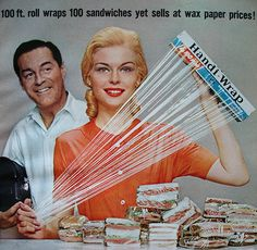 Honey! don't stop at sandwiches. You'd look great wrapped in that too!   Handi-Wrap ad  Woman's Day - February 1962