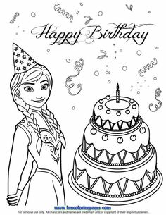 Anna Loves Birthday Cake Coloring Page