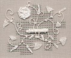 is the first piece I worked without a pattern or chart. It is a stitch sampler that includes canvaswork, blackwork, and raised work including needleweaving and velvet stitch using stranded cotton and Embroidery Techniques, Embroidery Stitches, Hand Embroidery, Embroidery Designs, Drawn Thread, Thread Art, Contemporary Embroidery, White Embroidery, Textiles