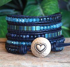 Beaded Leather Five Wrap Bracelet Blue Beaded Wrap от PJsPrettys