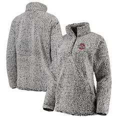 Keep warm on cooler days, while showing your Ohio State Buckeyes spirit, in this awesome Coast to Coast Sherpa quarter-snap pullover jacket. Gray Jacket, Hoodie Jacket, College Football, Nike Half Zip, Womens Sherpa, Half Zip Pullover, Fashion Night, Work Fashion, Everyday Fashion
